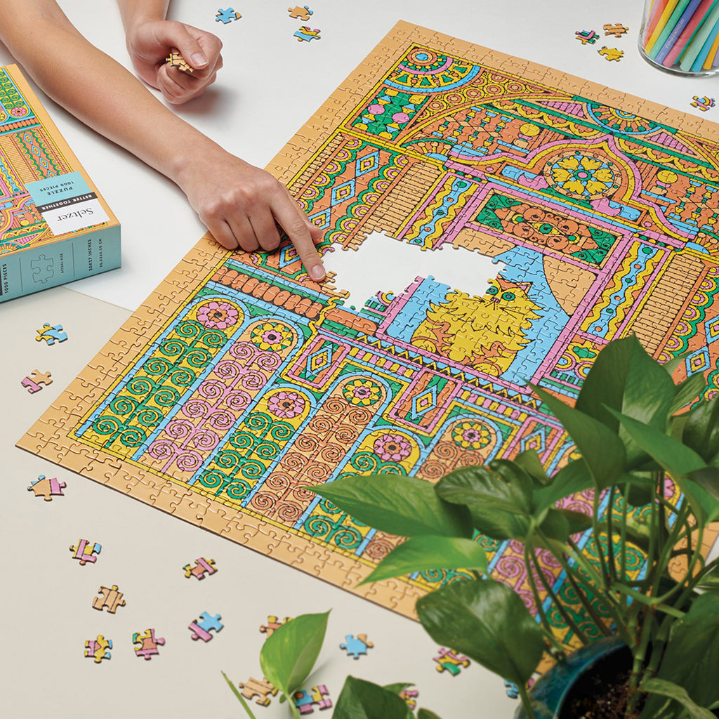seltzer goods 1000 piece better together house cat jigsaw puzzle in progress