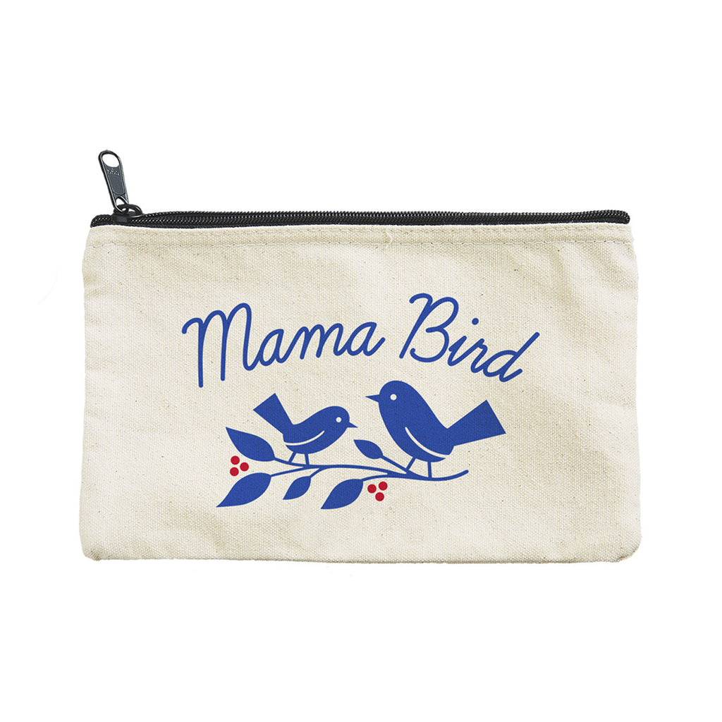 seltzer goods mama bird cotton canvas zipper pouch front view