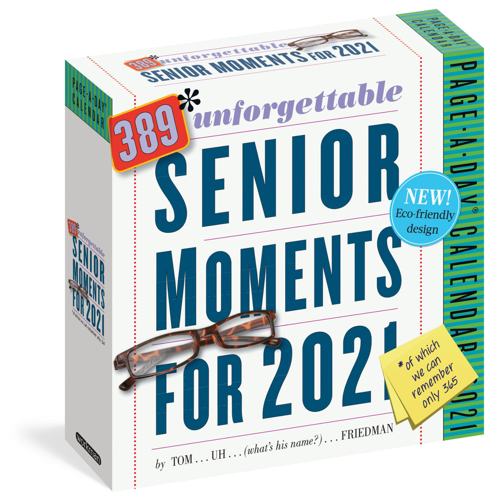 senior moments page a day calendar in white box with blue writing and illustration of glasses