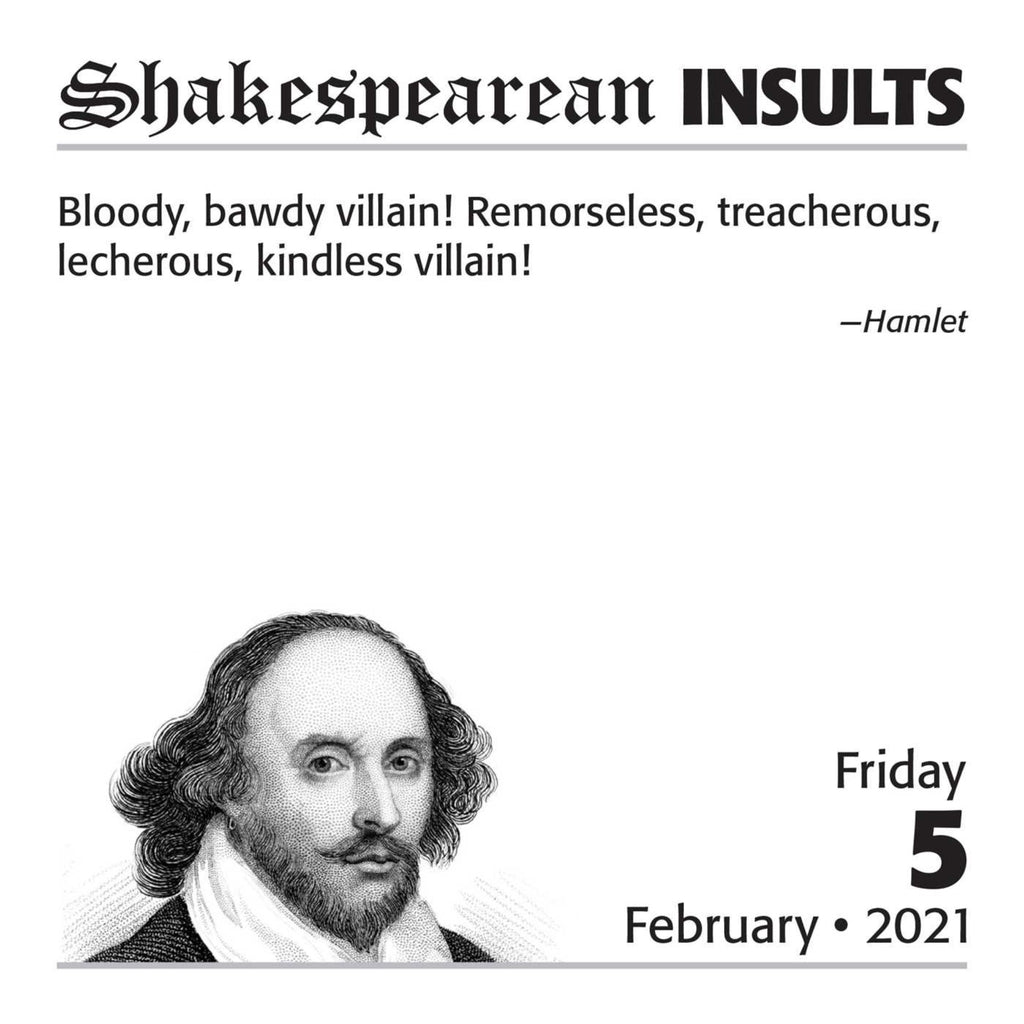 sample page of shakespearean insults page a day calendar
