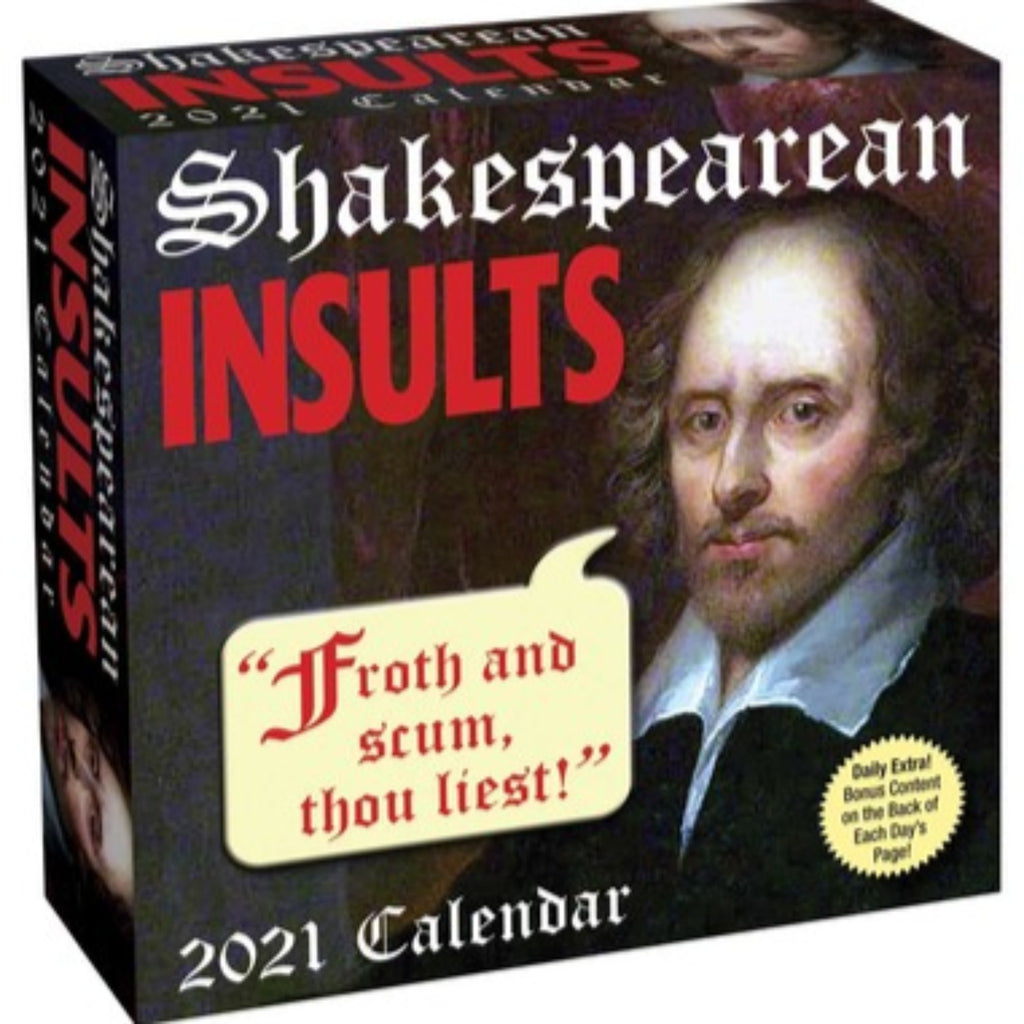 shakespearean insults page a day calendar cover with painting of william shakespeare
