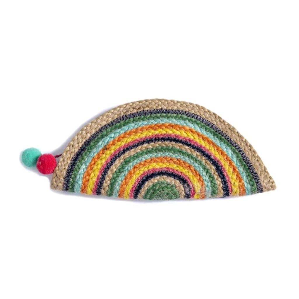 shiraleah capri multicolored jute half moon woven clutch purse