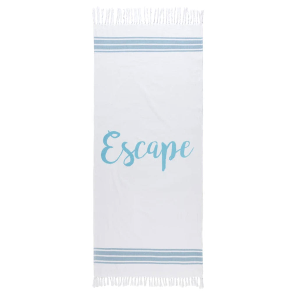 shiraleah escape beach towel and fringed bag set towel flat
