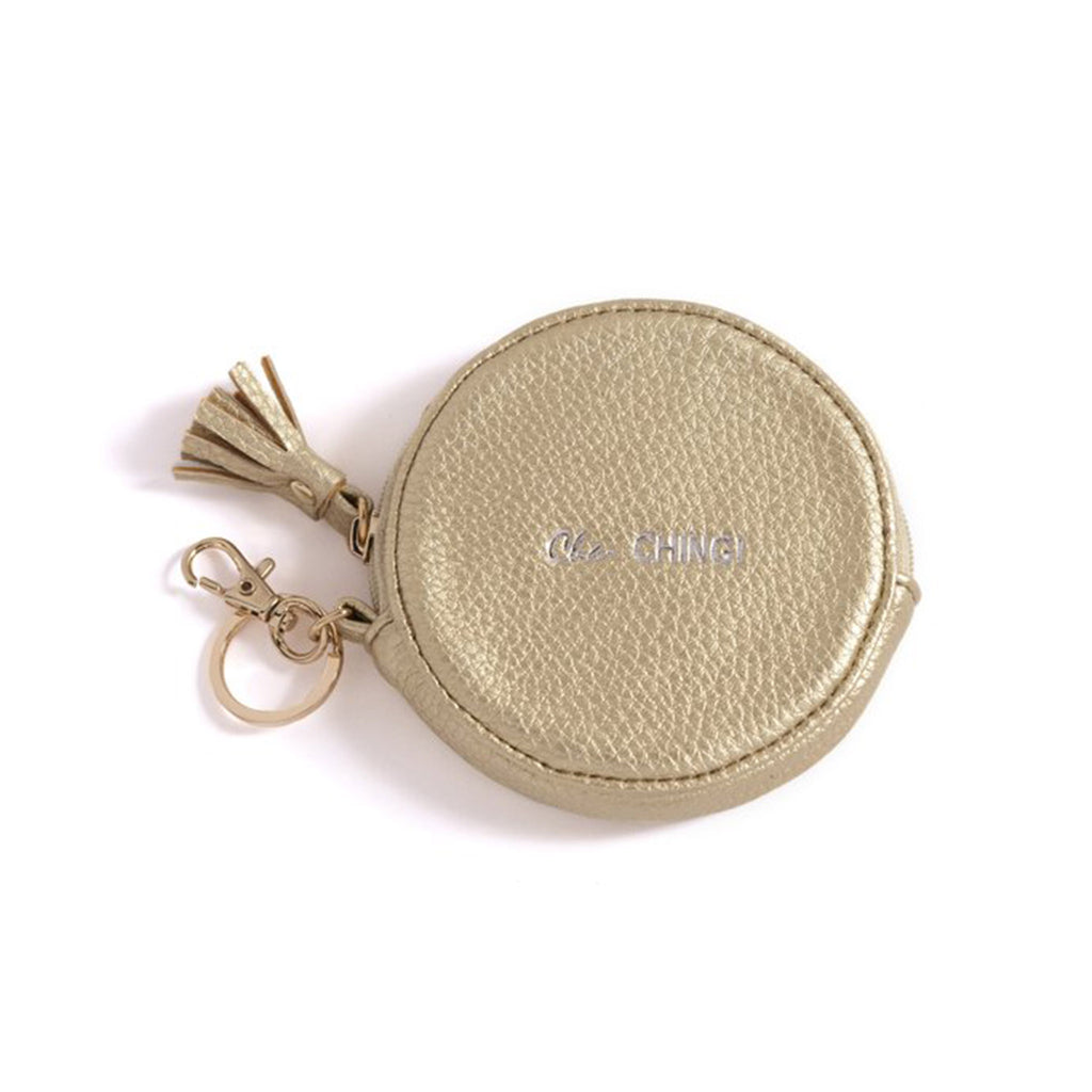 shiraleah gigi cha-ching gold round zip coin pouch with keychain and keyring