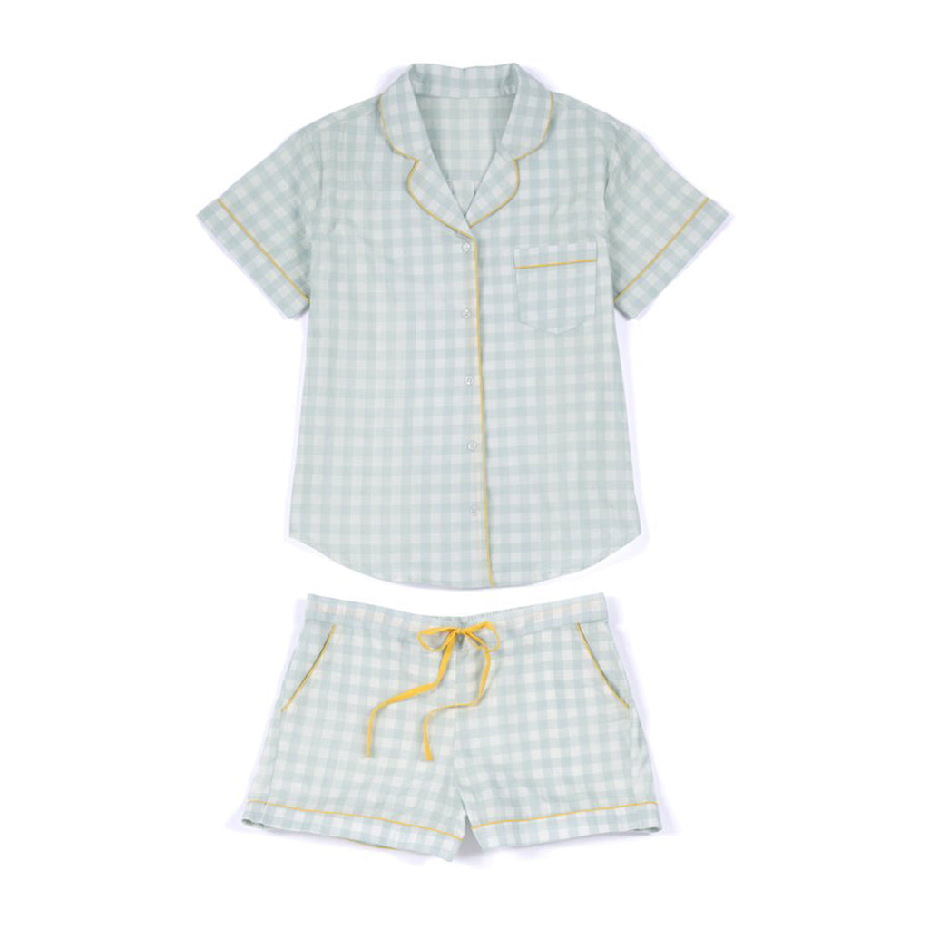 shiraleah jenny gray & white checkered pattern pajama pj set flat lay