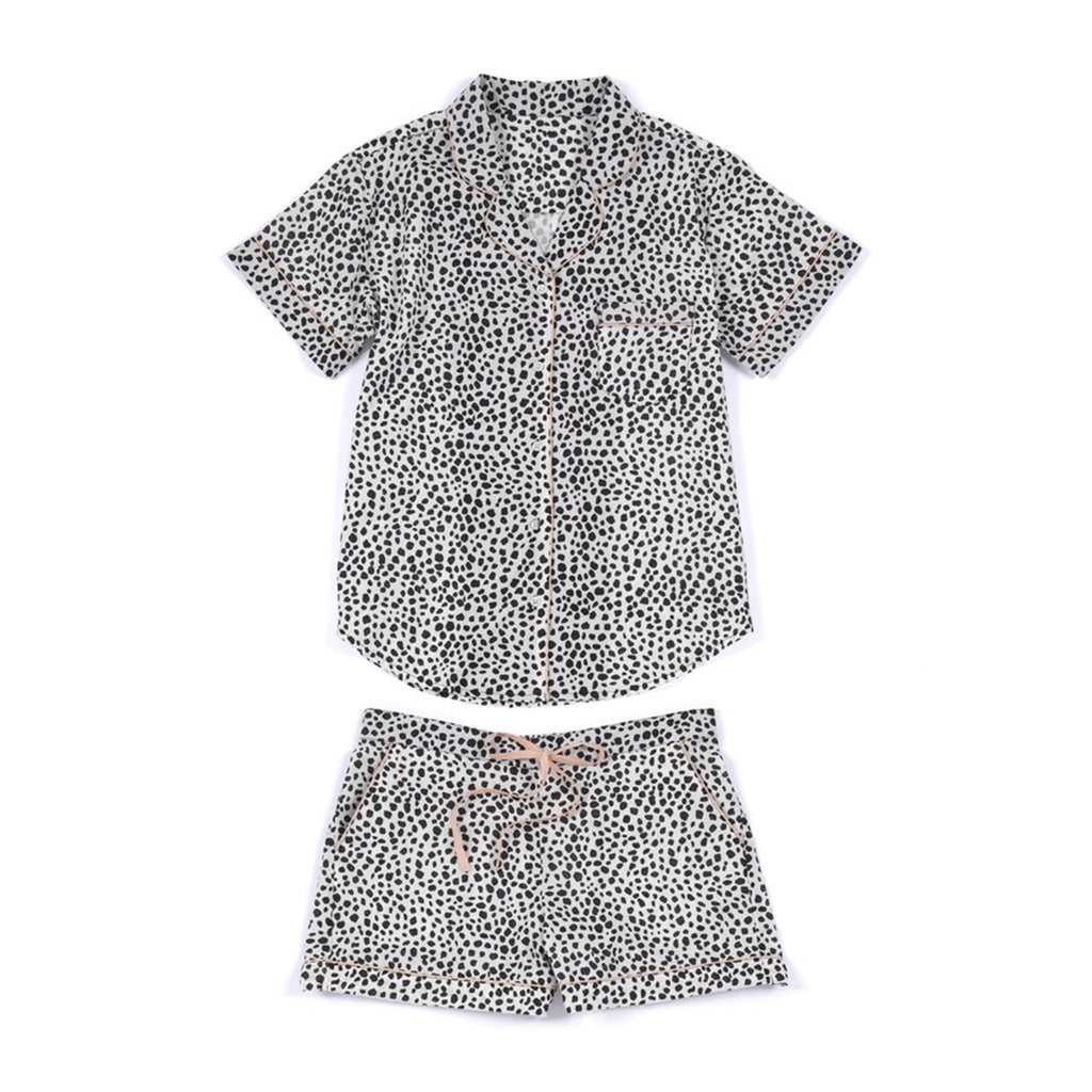shiraleah lauren black & white patterned pajama pj set flat lay