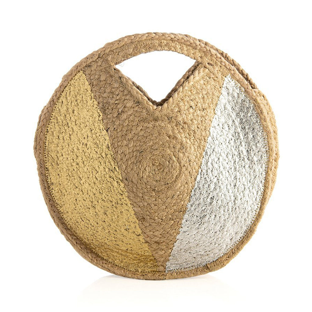 shiraleah piera round woven jute bag with top handles summer purse tote in natural with gold and silver accents