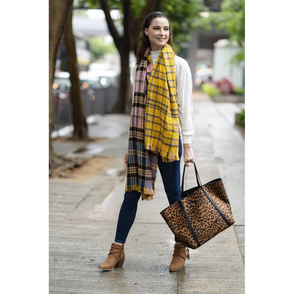 shiraleah rosalia blanket wrap multicolored plaid winter scarf with fringe on model