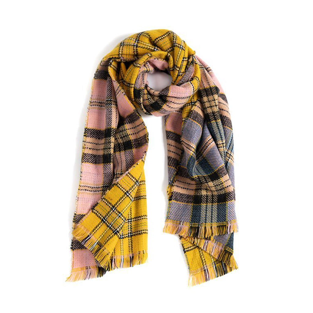 shiraleah rosalia blanket wrap multicolored plaid winter scarf with fringe