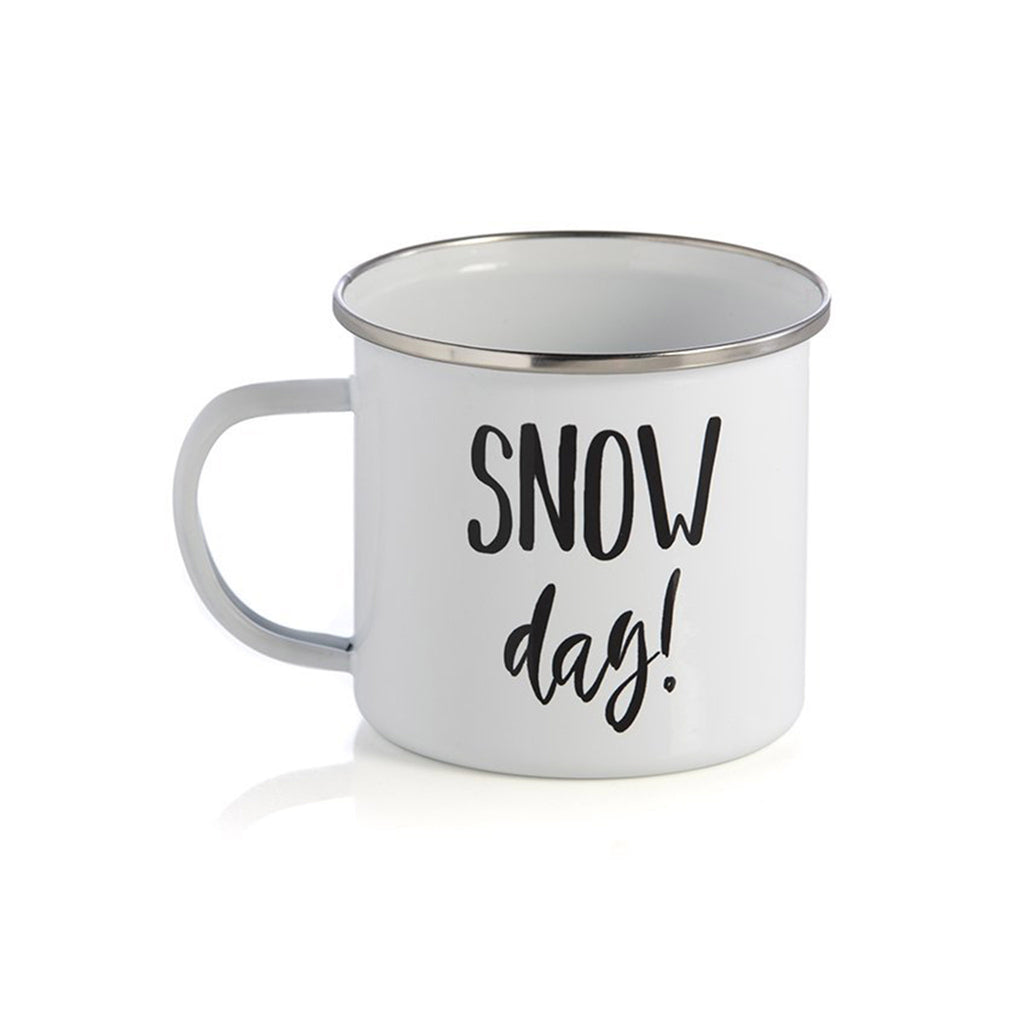 shiraleah snow day white enamel coffee hot chocolate winter holiday mug