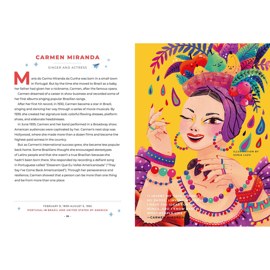 simon & schuster good night stories for rebel girls 100 immigrant women who changed the world by elena favilli book carmen miranda sample page