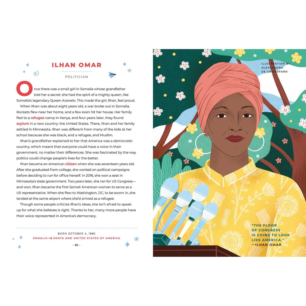 simon & schuster good night stories for rebel girls 100 immigrant women who changed the world by elena favilli book ilhan omar sample page