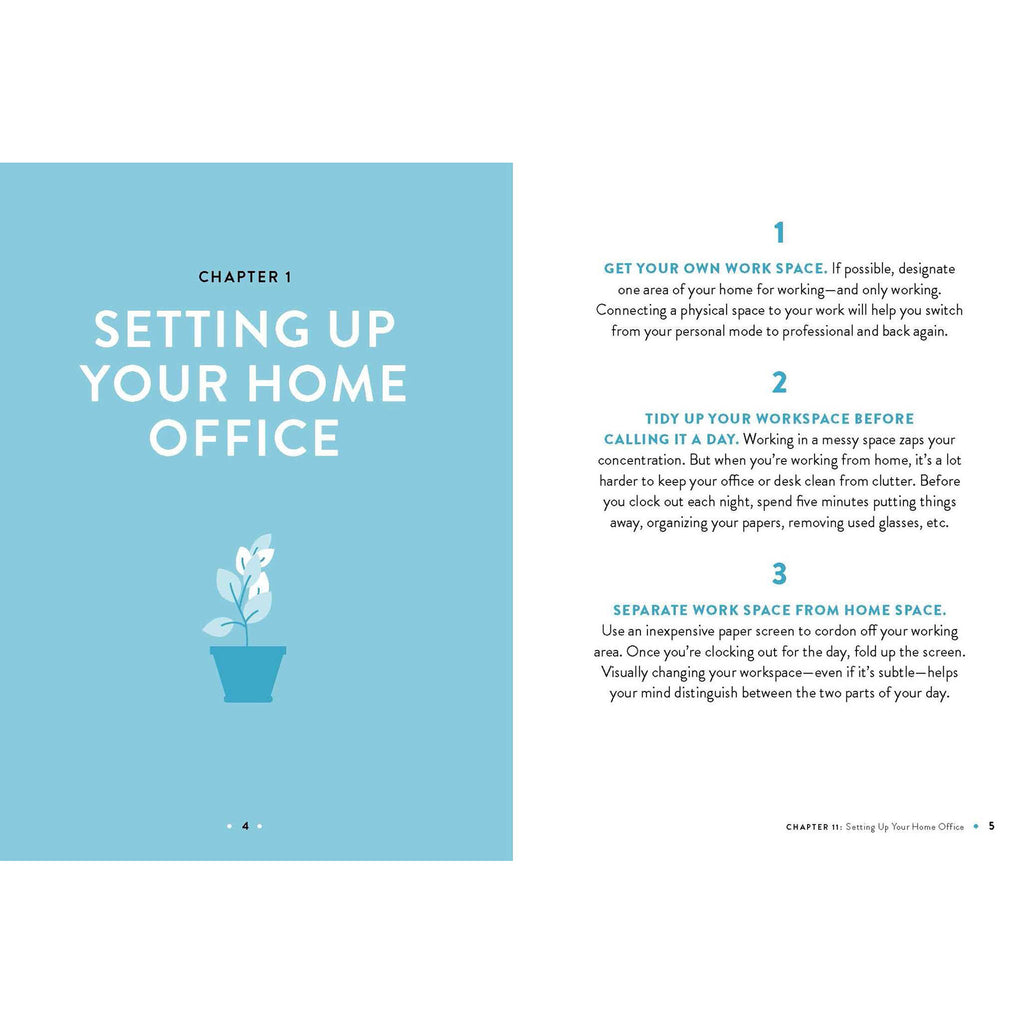 simon & schuster work from home hacks book setting up home office sample page 1