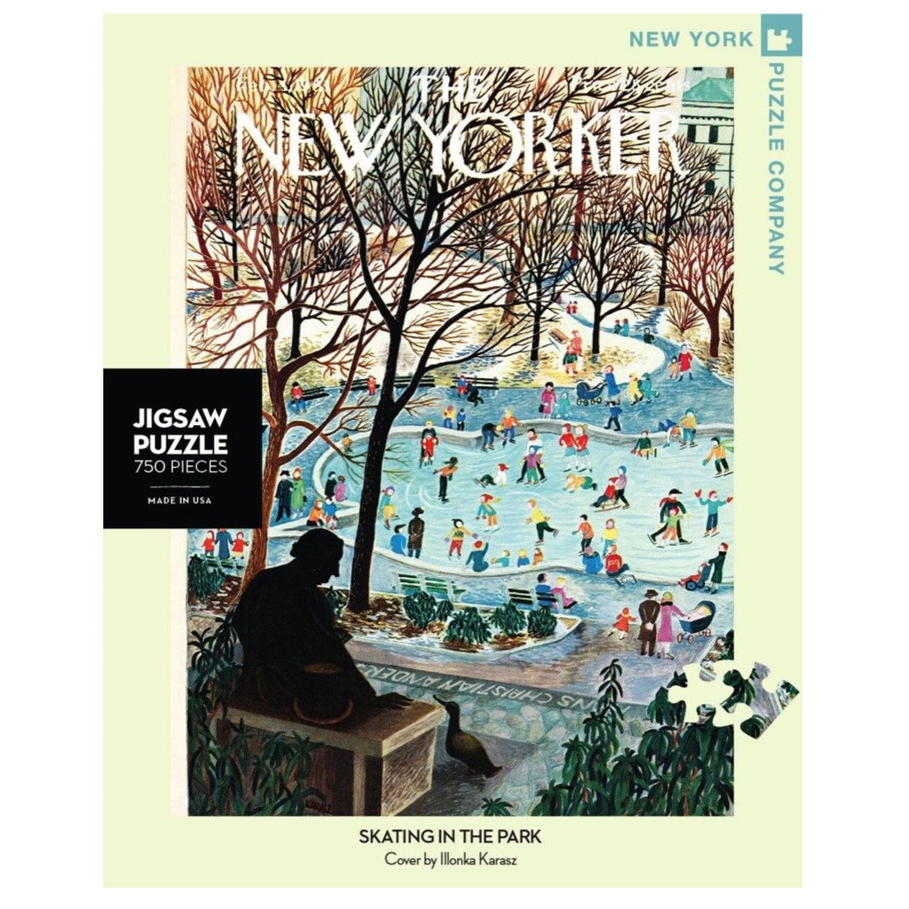 new yorker cover jigsaw puzzle with illustration of ice skaters in a park