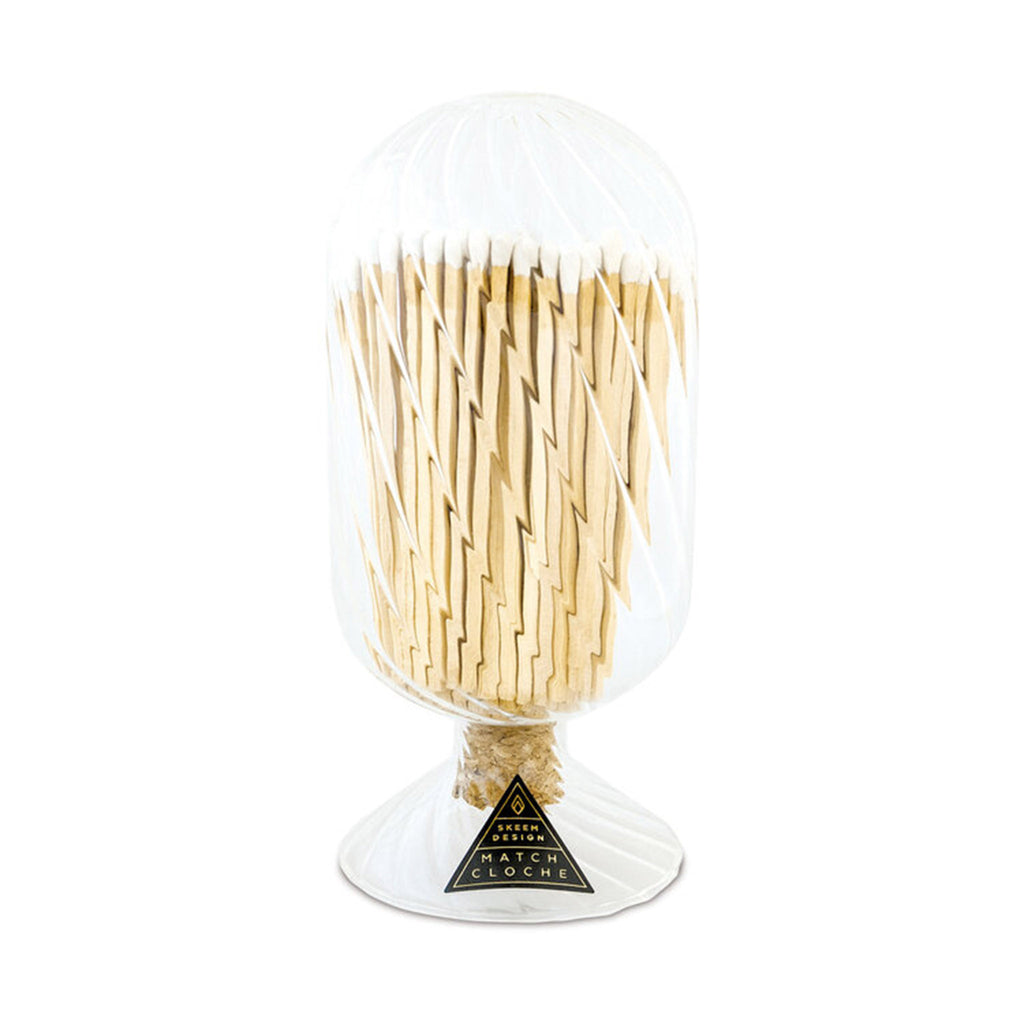 skeem clear helix glass match cloche with white-tipped wood matches