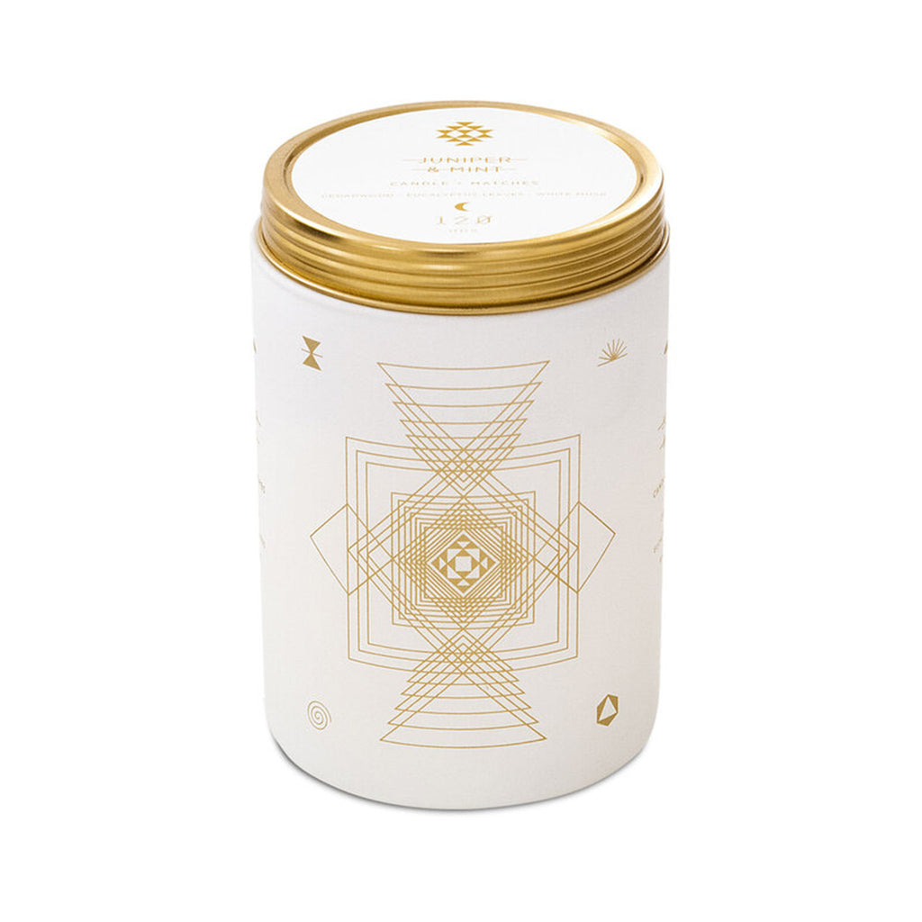skeem totem juniper mint scented soy wax candle in matte white glass tumbler with gold detail