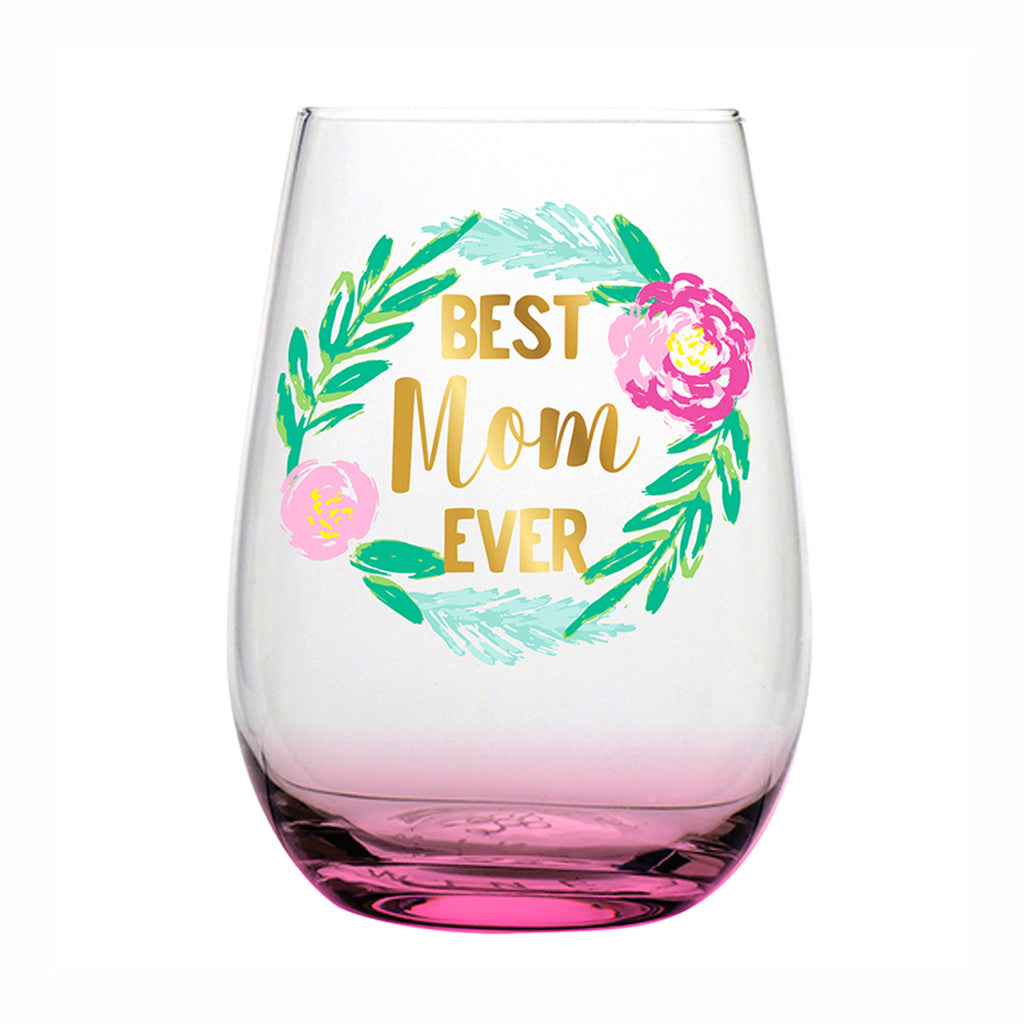 slant collections best mom ever pink tinted stemless wine glass with floral wreath design mother's day gift