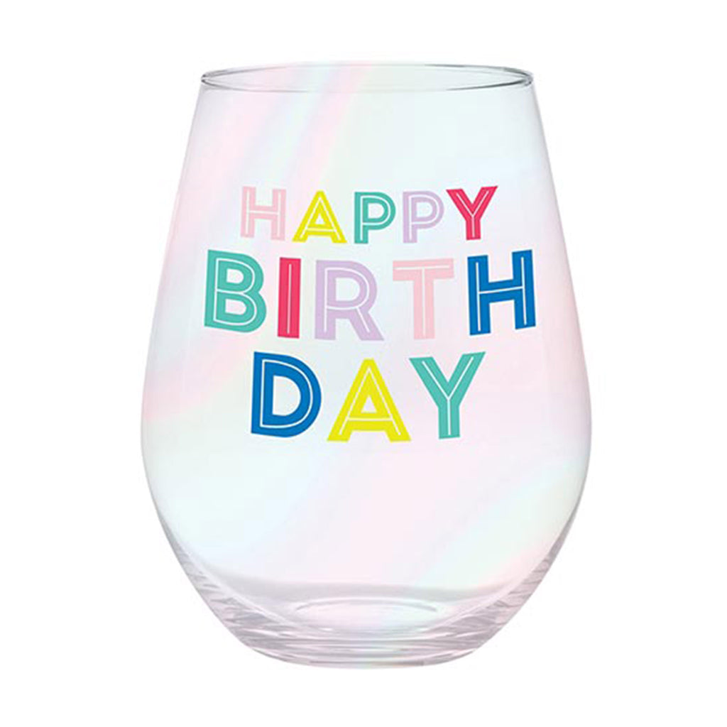 slant collections happy birthday colorful 30 ounce iridescent jumbo stemless wine glass