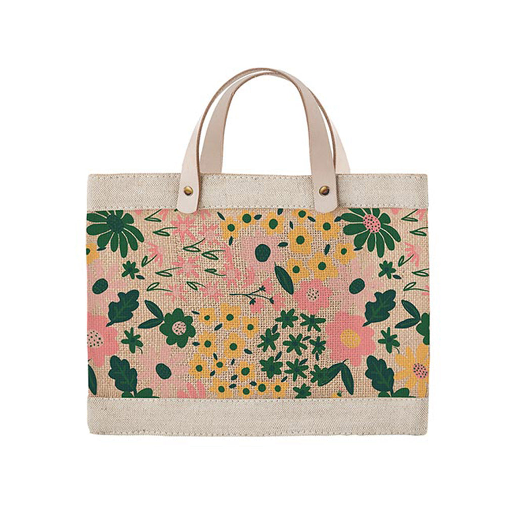 slant collections mini floral market jute canvas tote bag