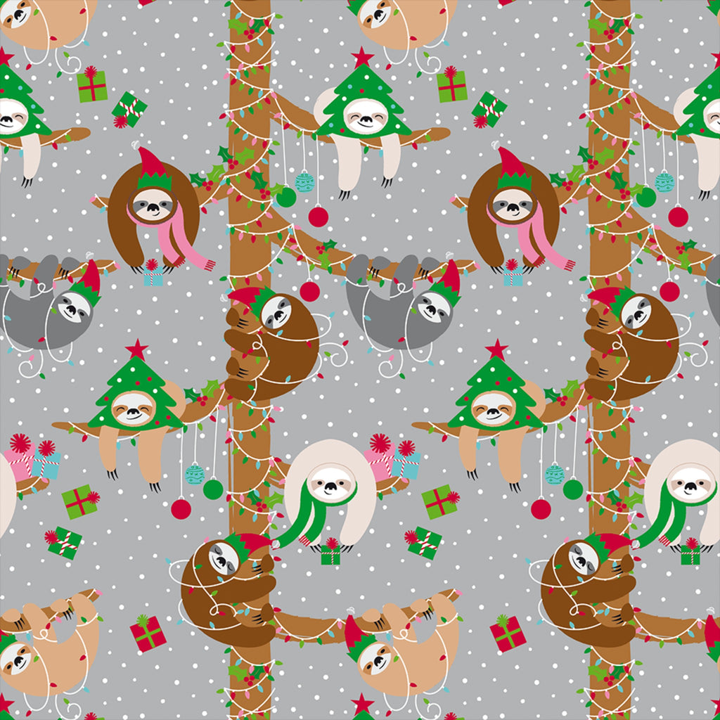 silver wrapping paper with sloths wearing christmas hats and hanging on lighted tree branches