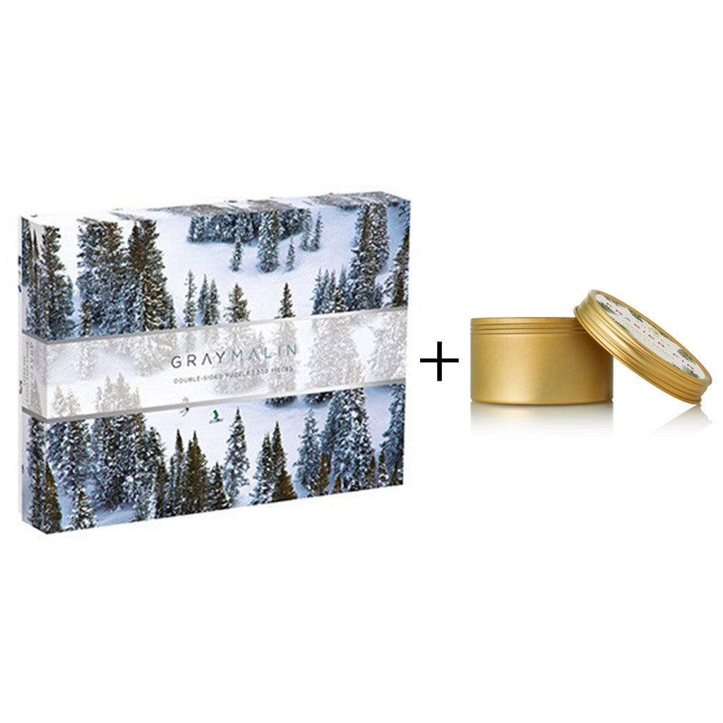 snow day gift box with gray malin double sided winter jigsaw puzzle and thymes frasier fir travel tin candle
