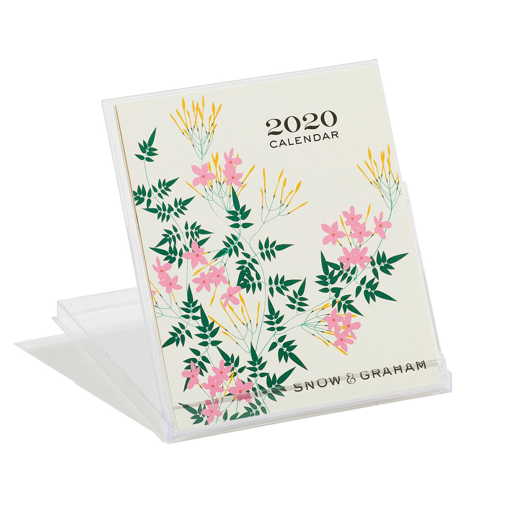 snow and graham 2020 monthly desk calendar cover in stand