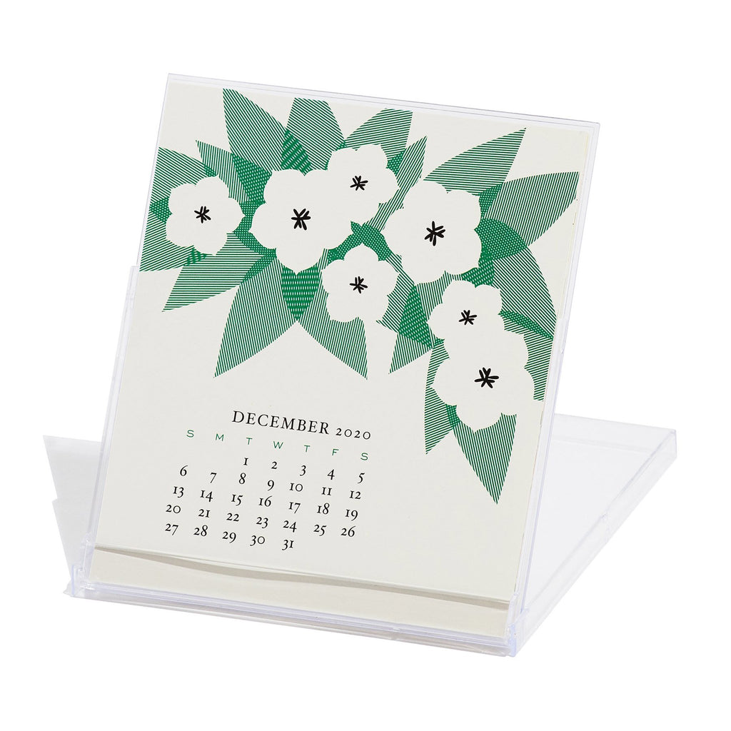 snow and graham 2020 monthly desk calendar december in stand