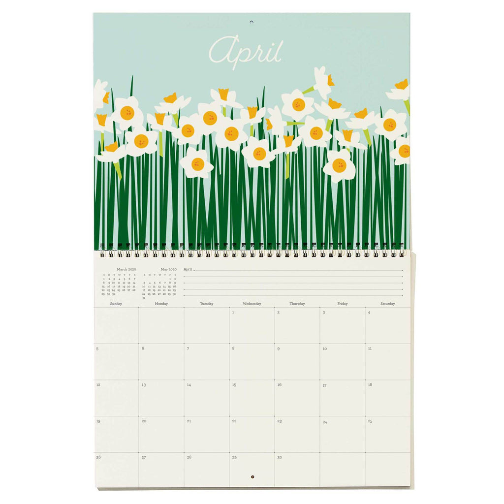 snow & graham 2020 write on monthly wall calendar floral print april
