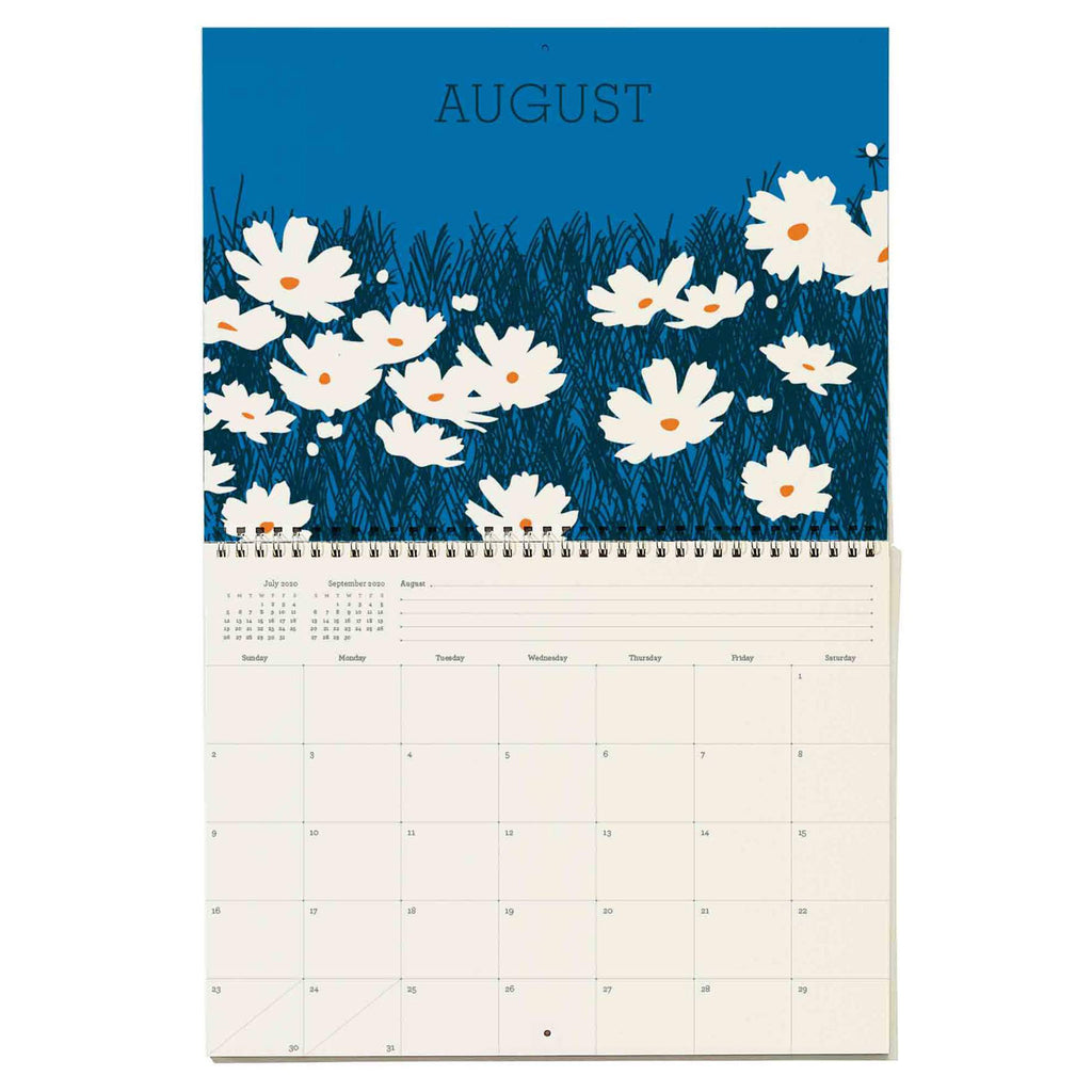 snow & graham 2020 write on monthly wall calendar floral print august