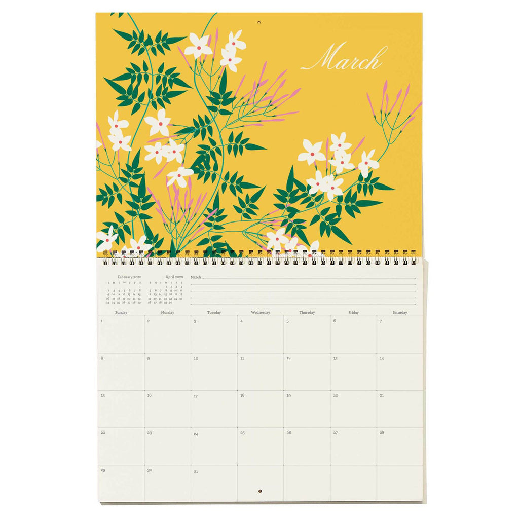 snow & graham 2020 write on monthly wall calendar floral print march