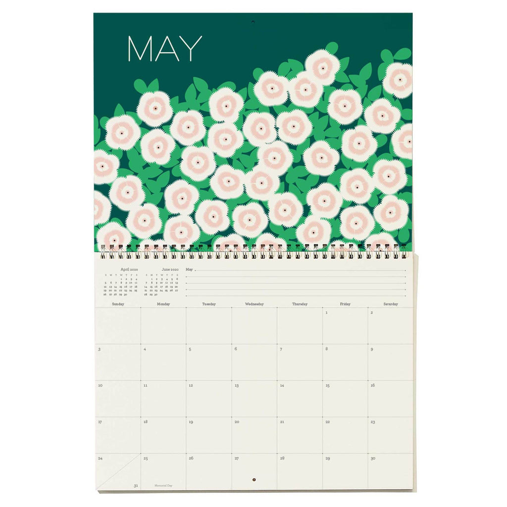 snow & graham 2020 write on monthly wall calendar floral print may