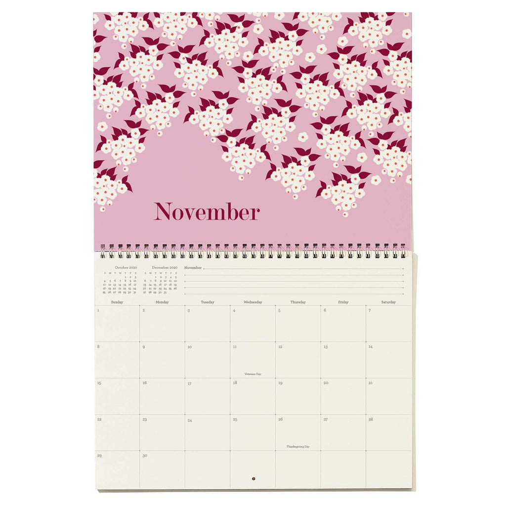 snow & graham 2020 write on monthly wall calendar floral print november