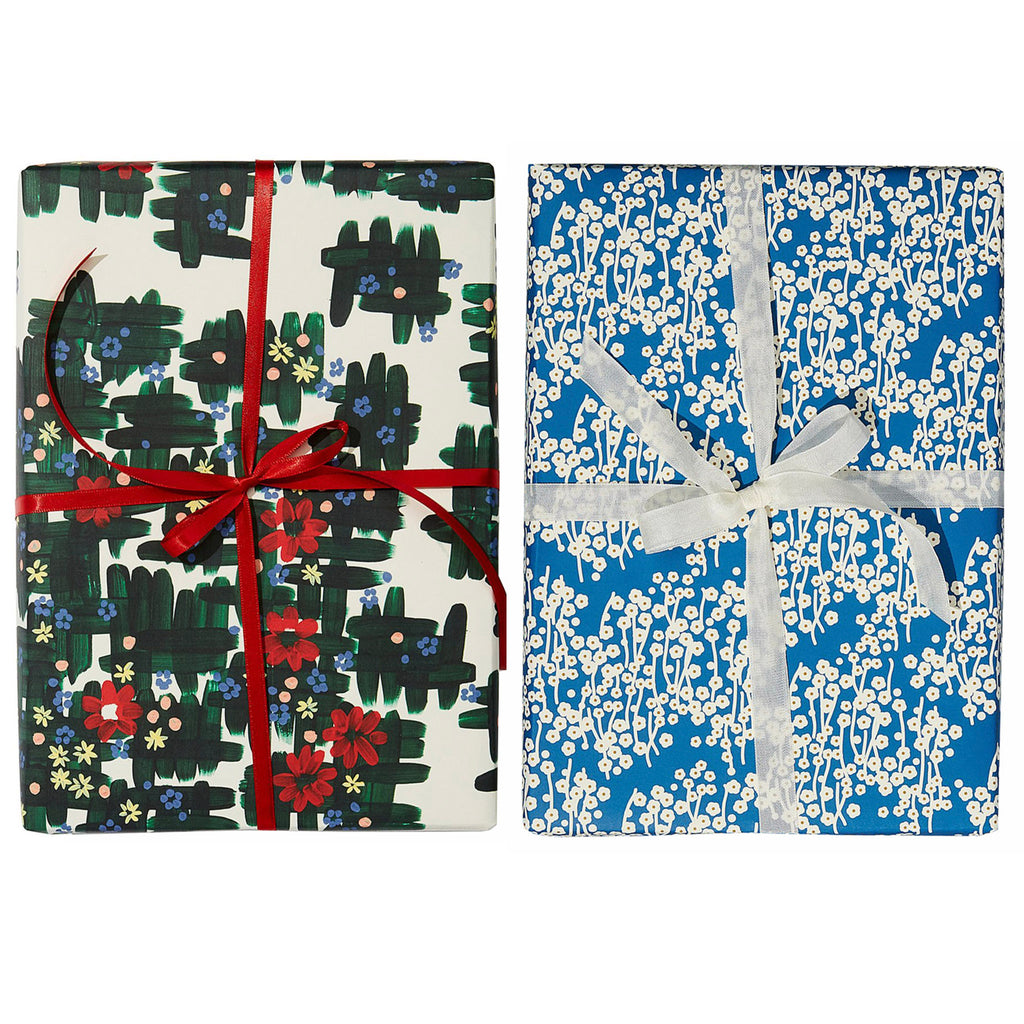 snow & graham floral wrapping paper set of two