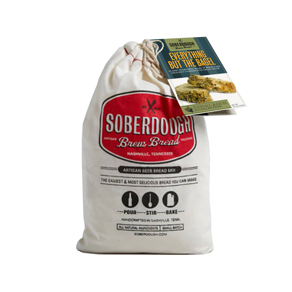 soberdough everything but the bagel brew bread artisan beer bread mix in cotton drawstring bag packaging