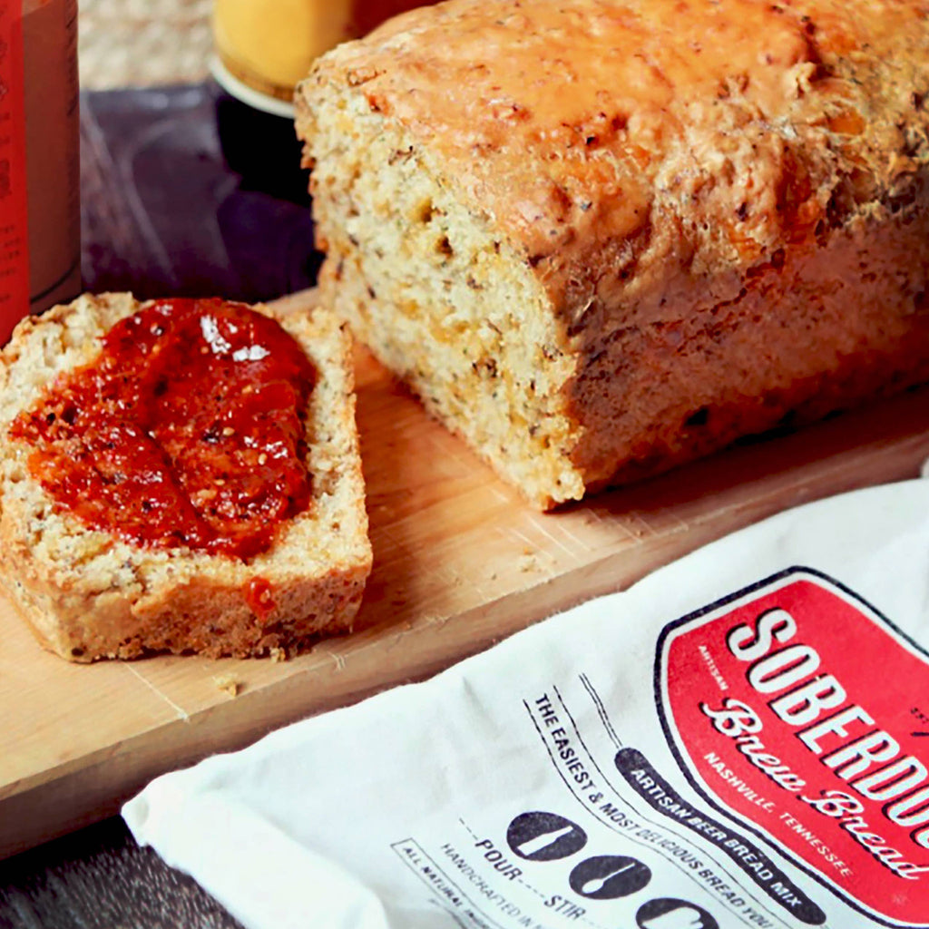 soberdough hatch green chile cheddar cheese brew bread artisan beer bread mix baked loaf lifestyle