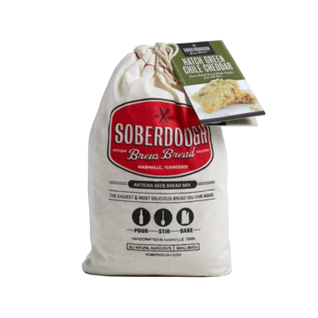 soberdough hatch green chile cheddar cheese brew bread artisan beer bread mix in cotton drawstring bag packaging