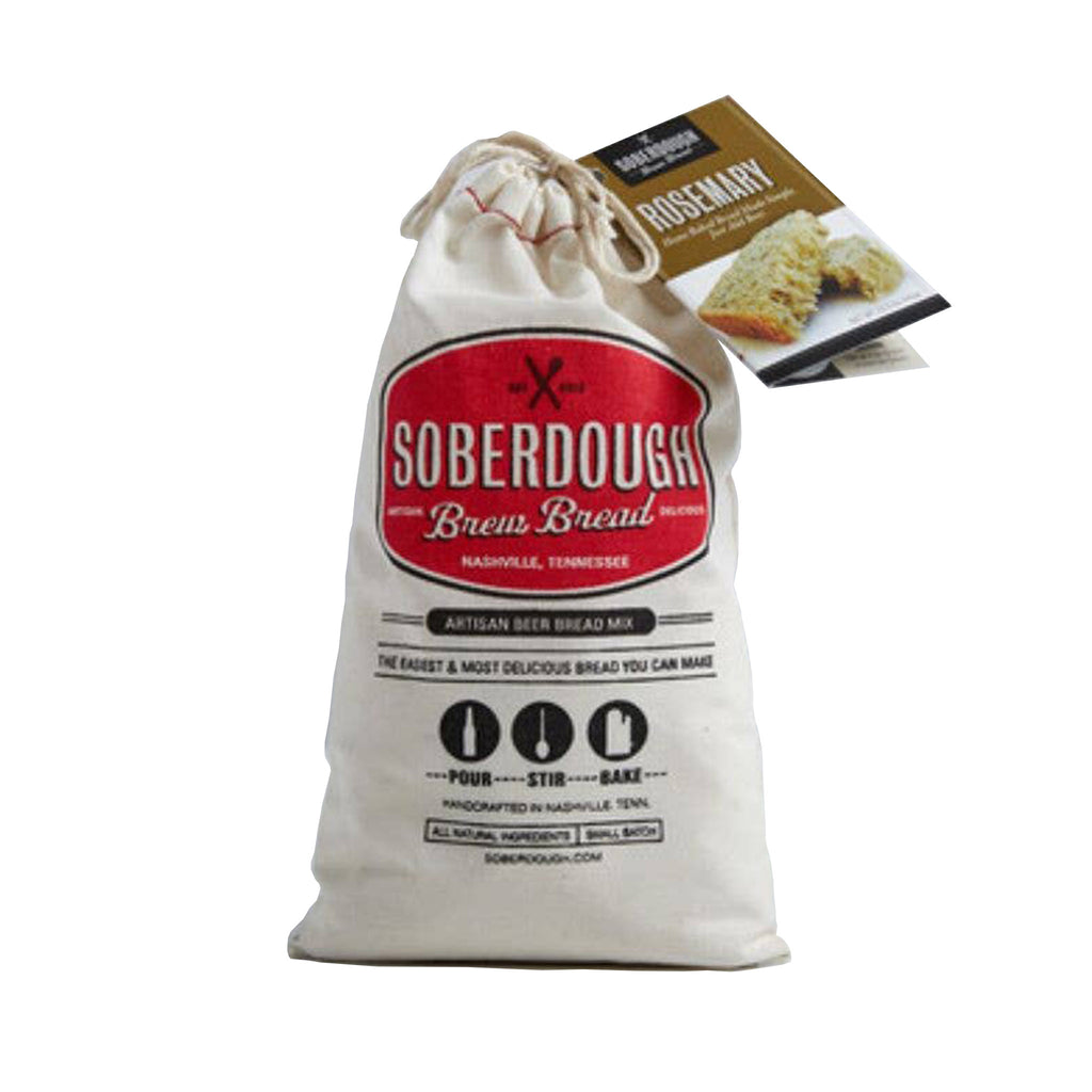 soberdough rosemary brew bread artisan beer bread mix in cotton drawstring bag packaging