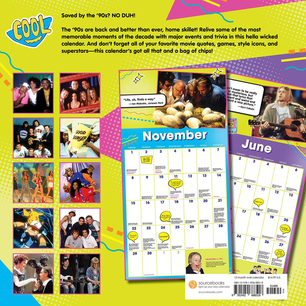 sourcebooks 2020 the 90s are all that monthly wall calendar back cover