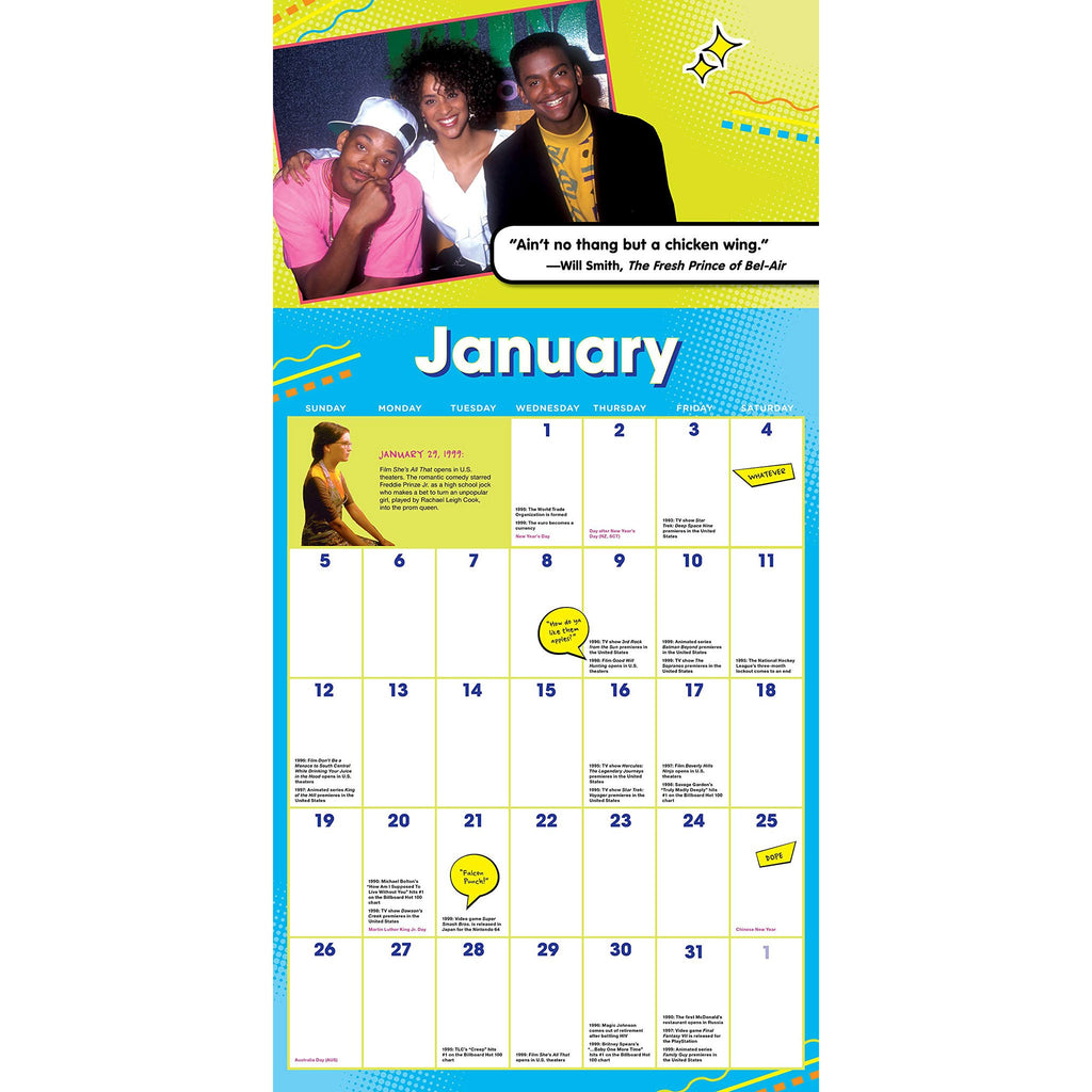 sourcebooks 2020 the 90s are all that monthly wall calendar january