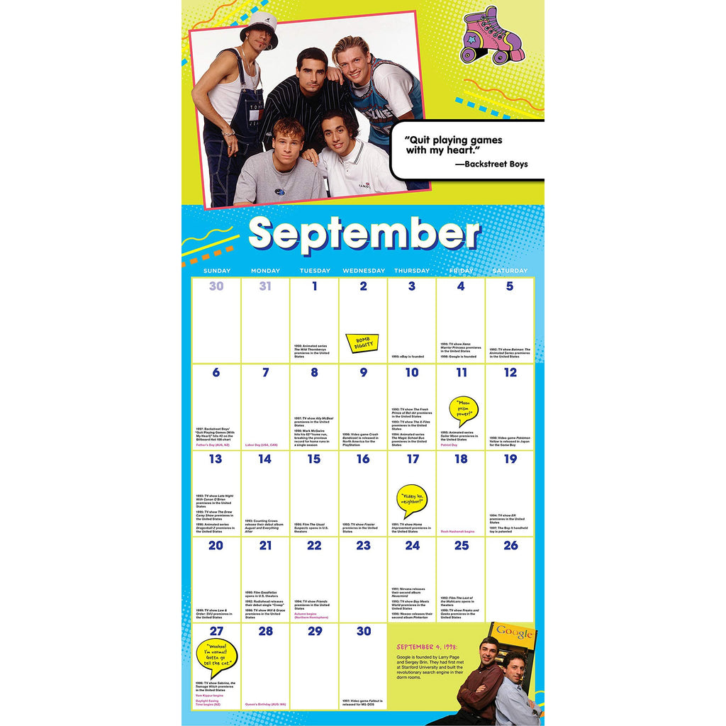 sourcebooks 2020 the 90s are all that monthly wall calendar september