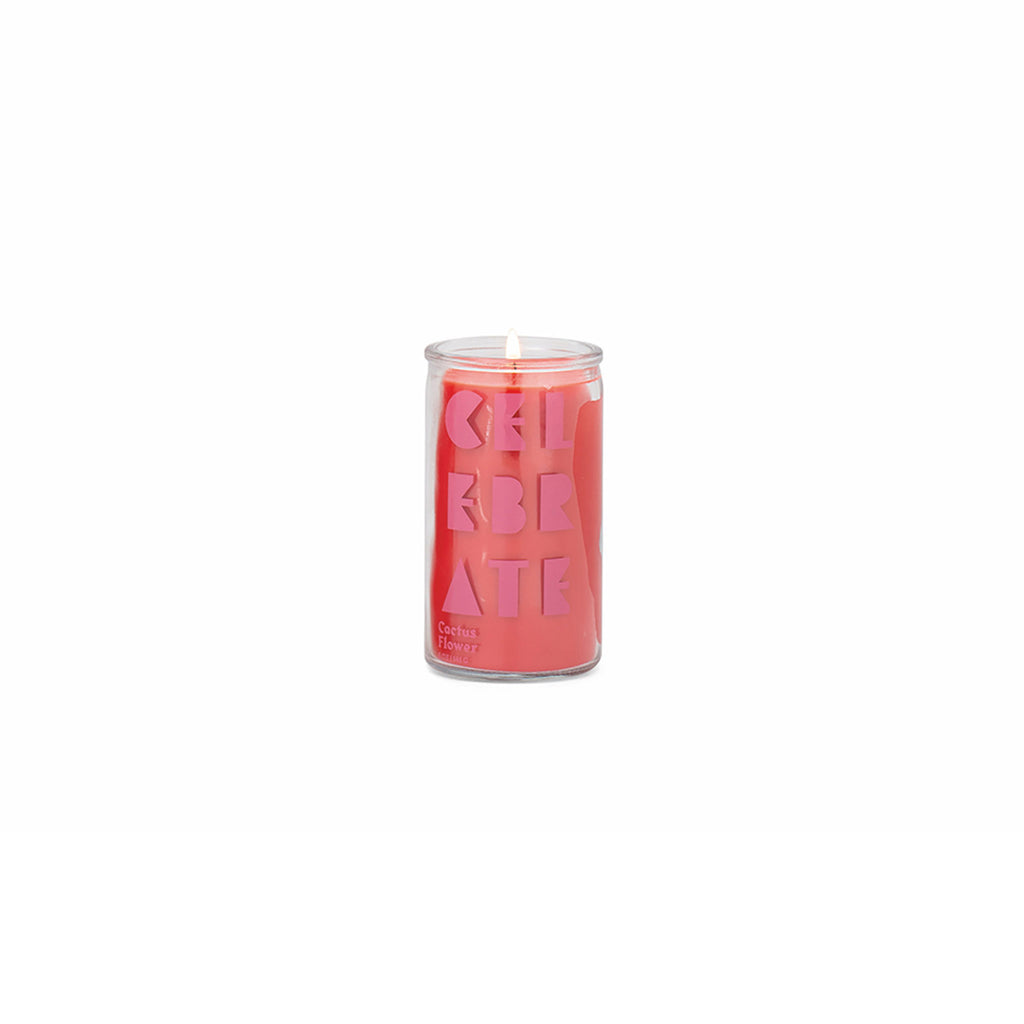 paddywax spark 5 ounce cactus flower scented prayer candle with red wax and celebrate printed on clear glass in dark pink