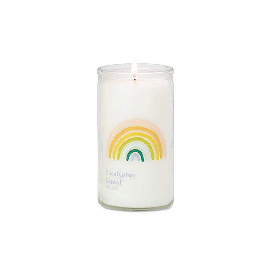 paddywax spark 5 ounce eucalyptus santal scented prayer candle with white wax and colorful rainbow printed on clear glass