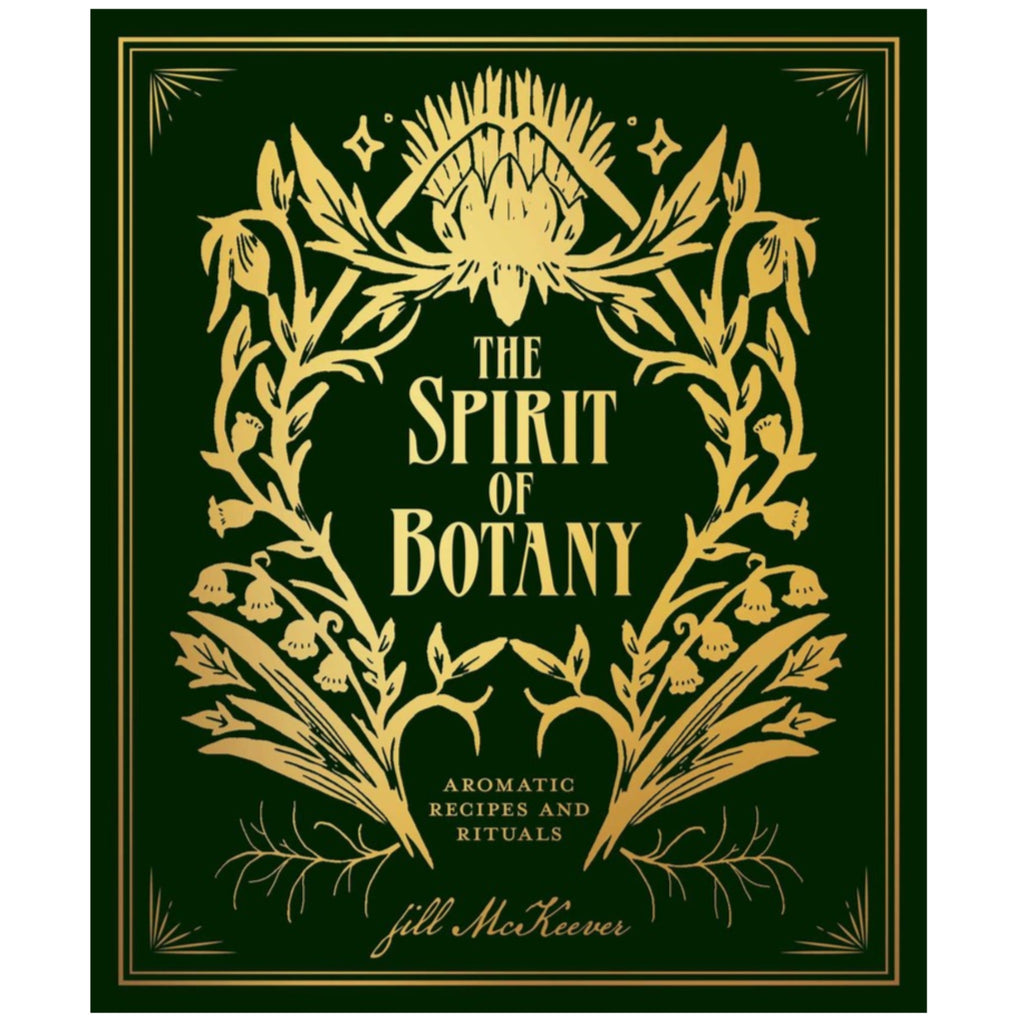 spirit of botany book cover in dark green with gold text and floral illustration