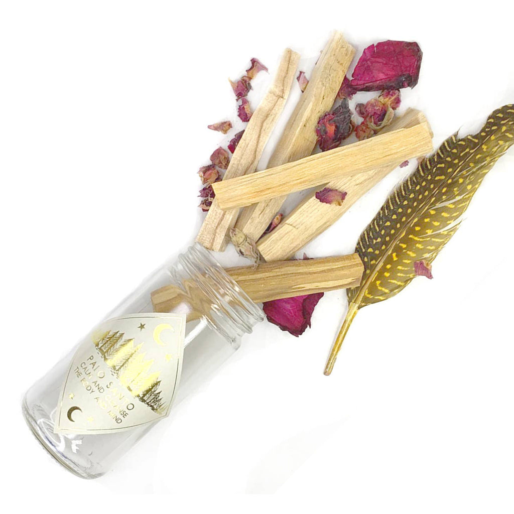 spitfire girl palo santo wood sticks calming and cleansing jar kit contents