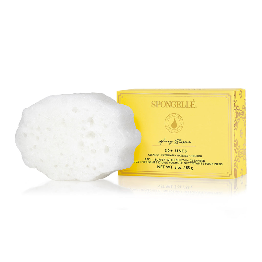 spongelle honey blossom body wash infused pedi buffer packaging front with sponge