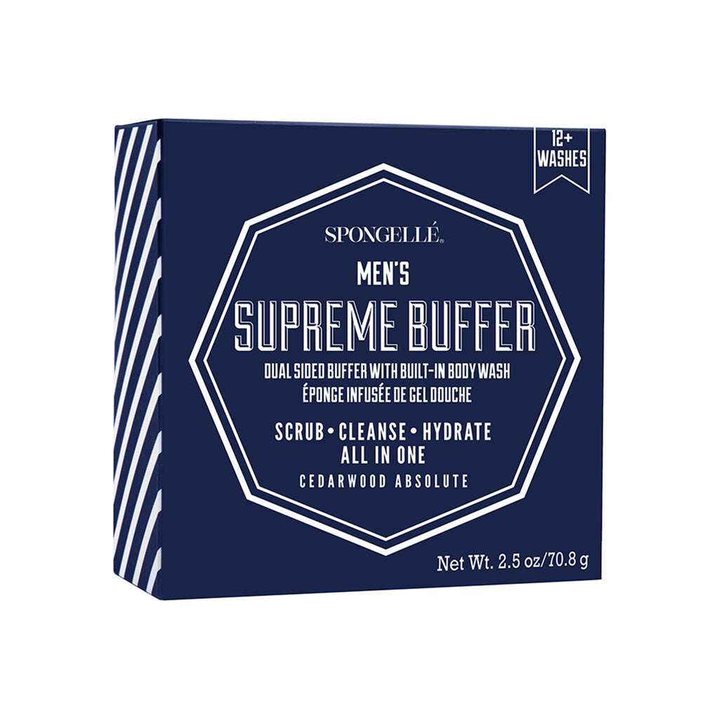 spongelle mini men's supreme buffer cedarwood absolute scented body wash infused bath scrubber packaging front