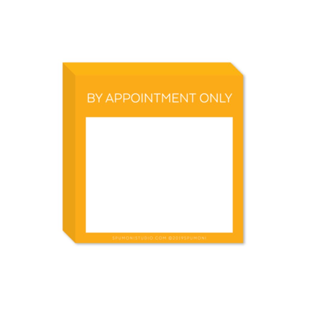 spumoni studio small and mighty by appointment only yellow sticky notes pad