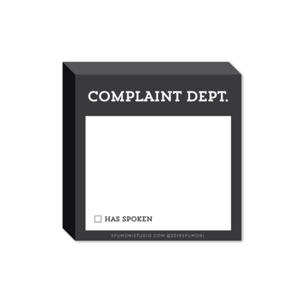spumoni studio small and mighty complaint department dark grey sticky notes pad