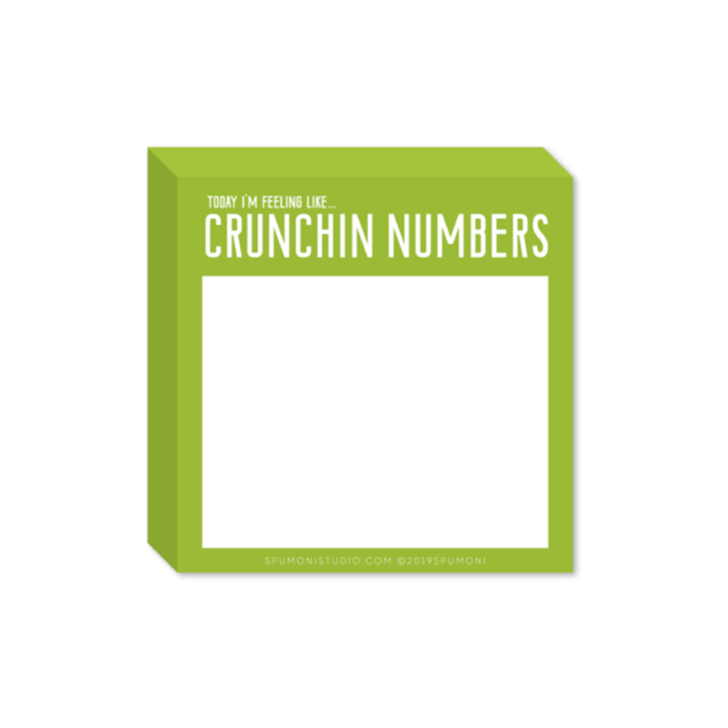spumoni studio small and mighty crunchin numbers green sticky notes pad