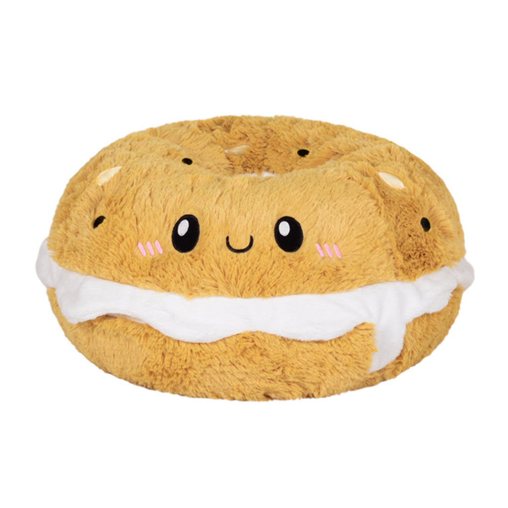 squishable large bagel with cream cheese stuffed animal plush toy front